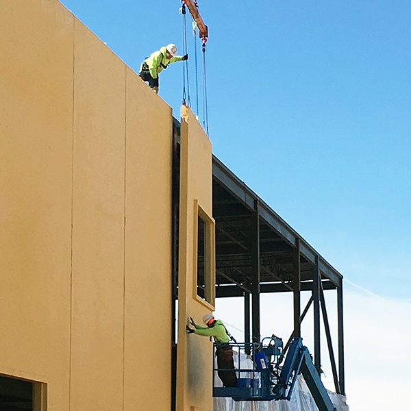 Panel being put into place