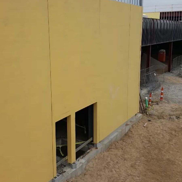 exterior of building with panels in place