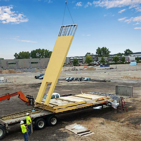 Panel being lifted on jobsite